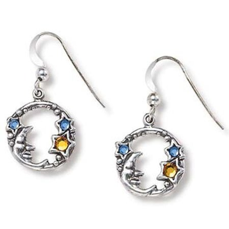 Sterling Silver Moon & Stars Celestial Earrings, Silver  - Made in the USA