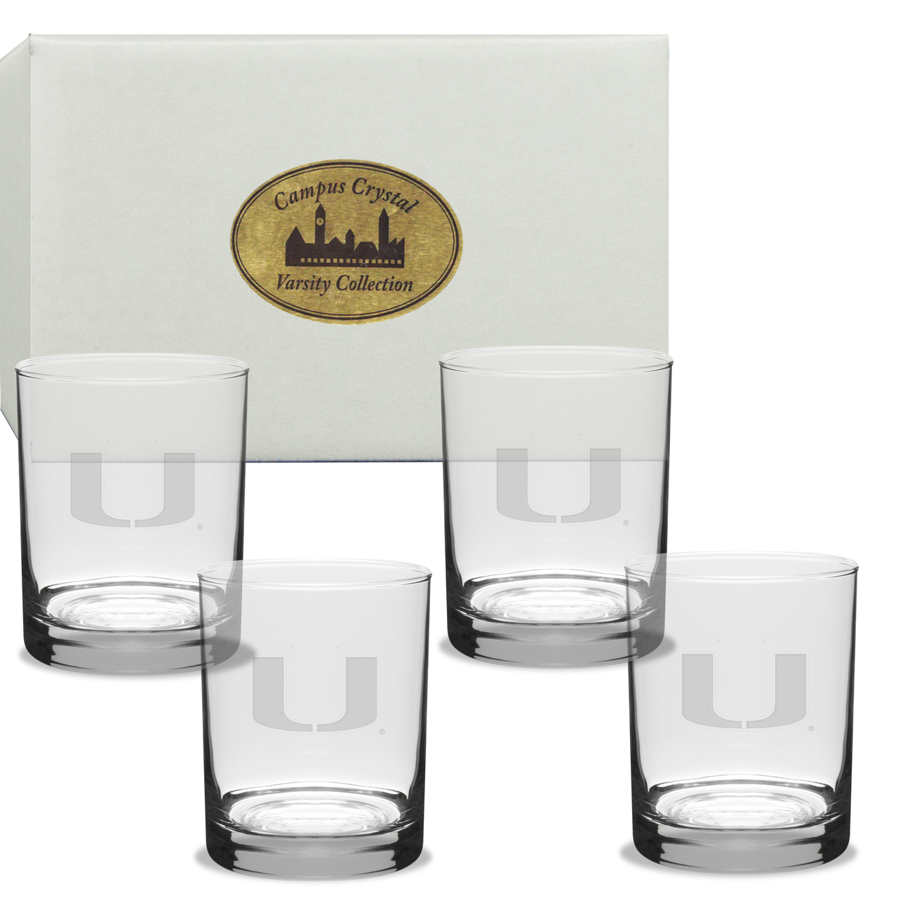 Miami Hurricanes Deep Etched Double Old Fashion Glass Set of 4