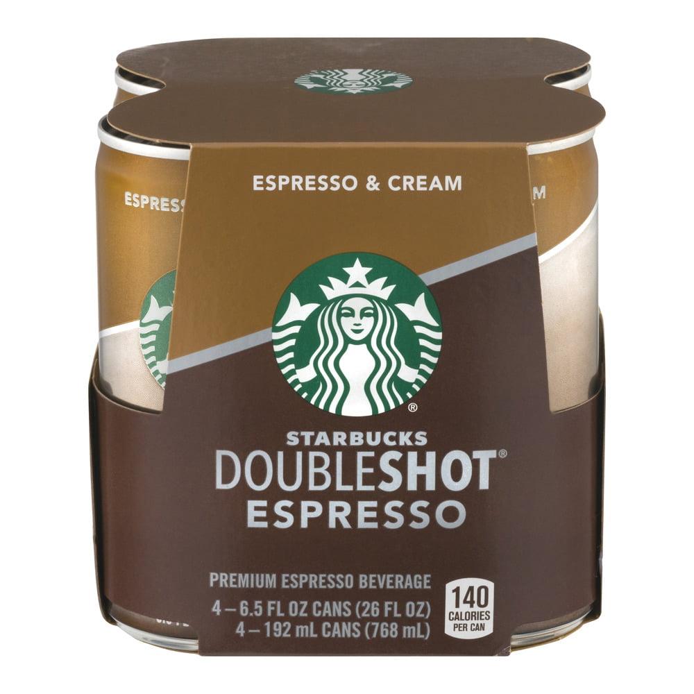 Starbucks Doubleshot Espresso & Cream, 4 Count, 6.5 fl oz cans