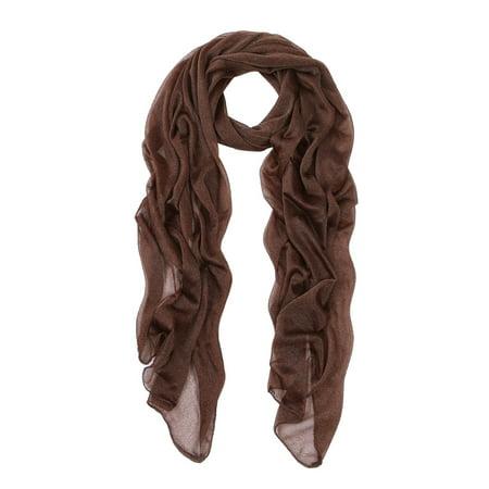Elegant Silky Chiffon Sheer Plain Oblong Scarf (Plain Brown Wrapper)
