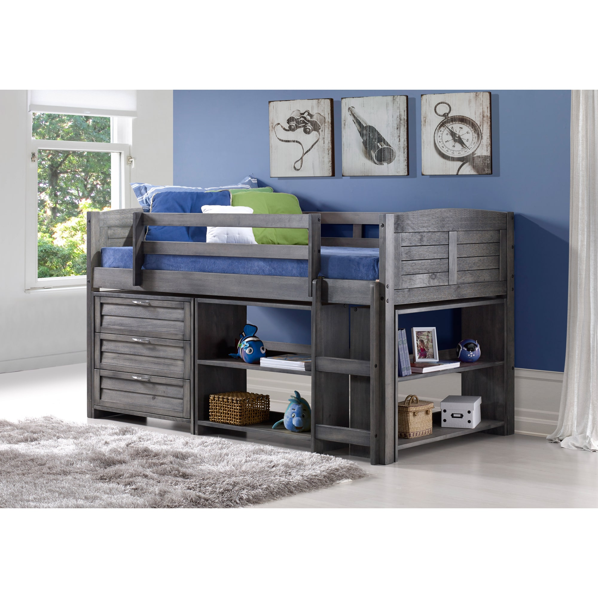 Donco Kids  Antique Grey Pine Wood Twin Louver Low Loft Bed with 3-Drawer Chest, Shelves, and Small Bookcase