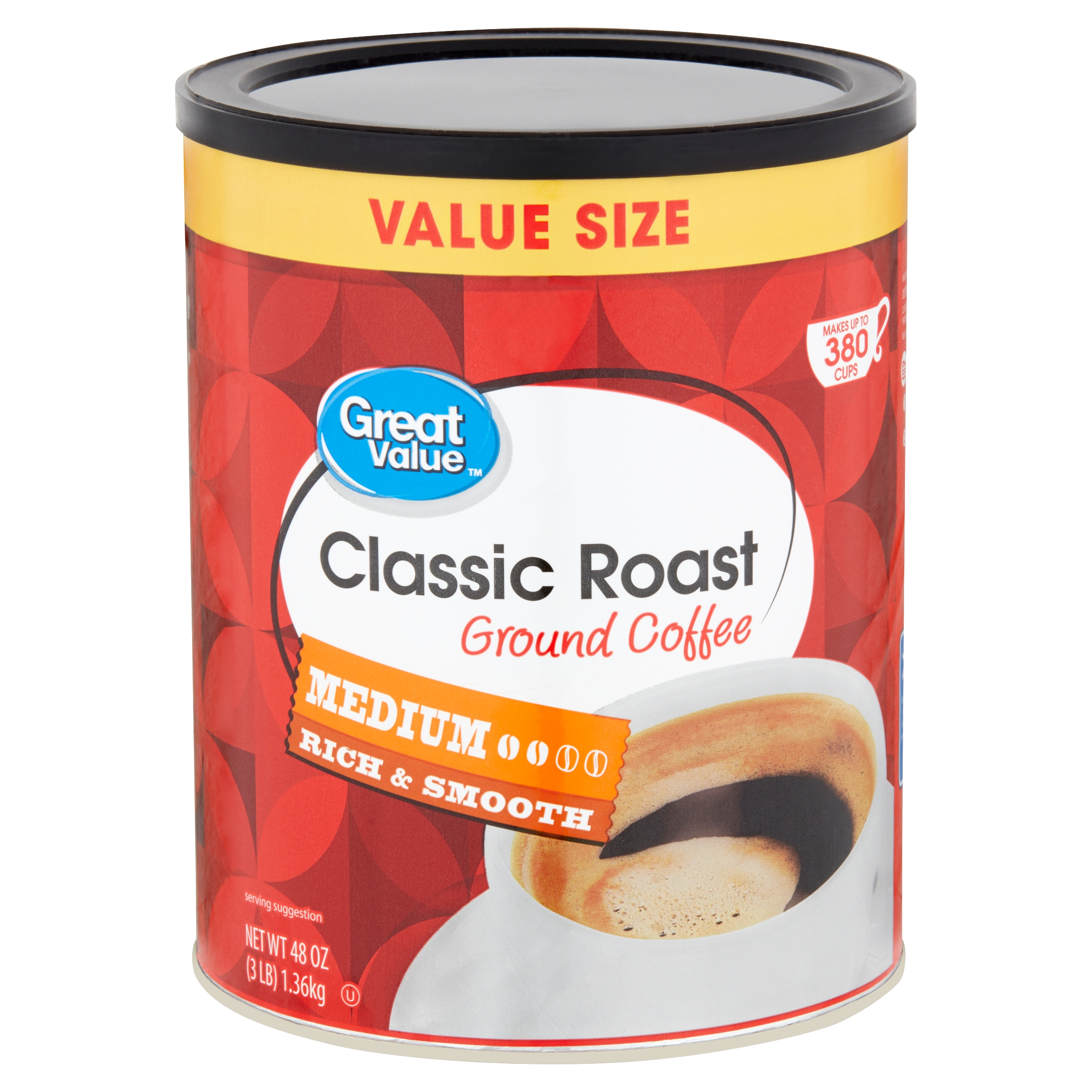 Great Value Classic Roast Medium Ground Coffee Value Size, 48 oz