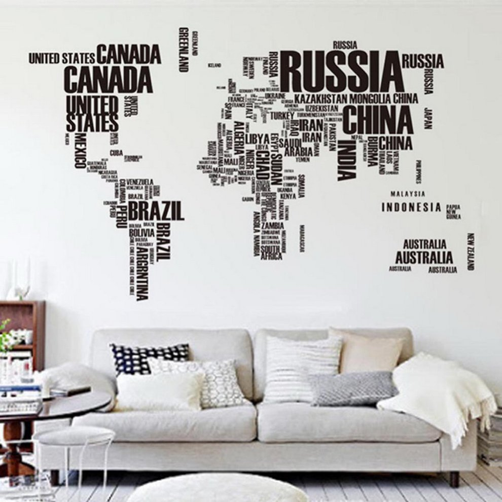 World map letter removable vinyl decal art mural home decor wall world map letter removable vinyl decal art mural home decor wall stickers gumiabroncs Images