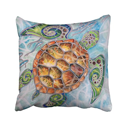 WinHome Hand Painted Orange Green Sea Turtle In Blue Water With Small Fish Decorative Pillowcases With Hidden Zipper Decor Cushion Covers Two Sides 20x20 inches