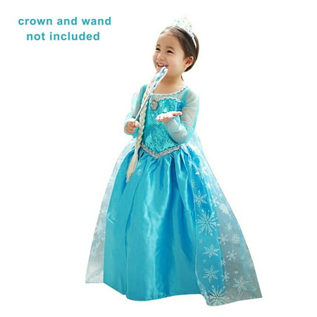 Holloween Gift Princess Inspired Girls Snow Queen Party Costume Dress (5-6years) (Girl Yoshi Costume)