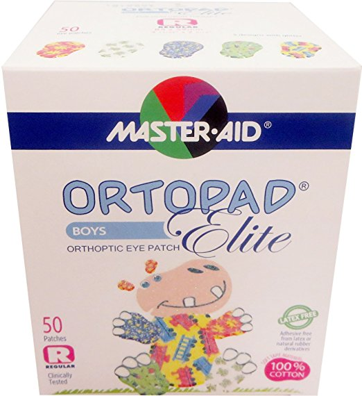 Ortopad Elite Boys Eye Patches - with Glitter Accents, Regular Size (50 Per Box)