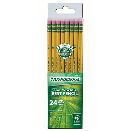 Ticonderoga Wood-Cased Pencils, #2 HB Soft, Yellow, 24 Ct