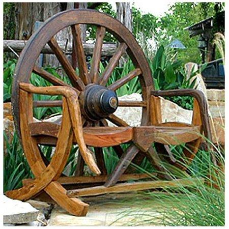 Fantastic Rustic Wagon Wheel Bench In Teak Machost Co Dining Chair Design Ideas Machostcouk