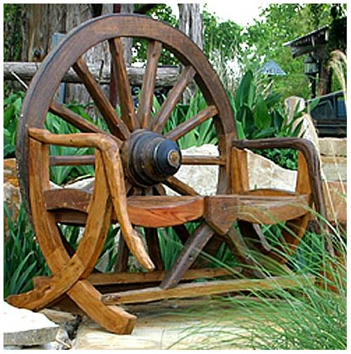 Rustic Wagon Wheel Bench in Teak