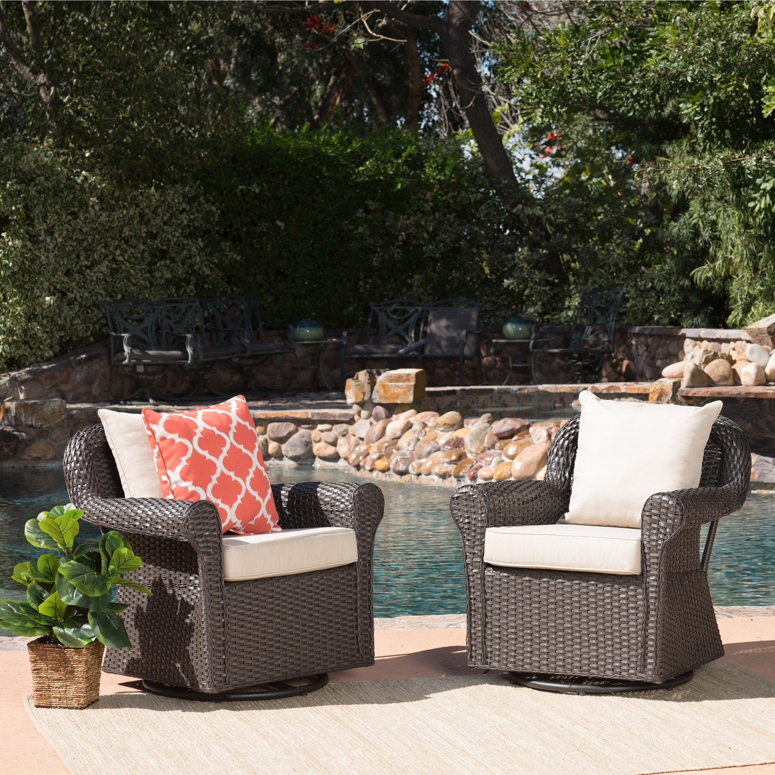 christopher knight home amaya outdoor wicker swivel rocking chair with cushion set of 2 - Swivel Patio Chairs