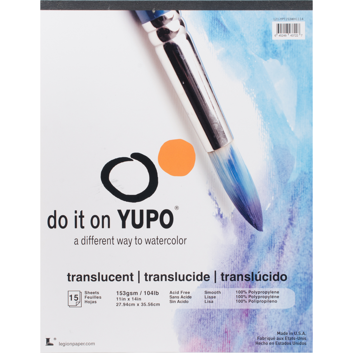 Legion Paper Yupo Translucent Watercolor Pad, 15 Sheets, 11in x 14in