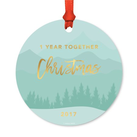 Metal Christmas Ornament, 1 Year Together, Christmas 2017, Winter Wonderland Forest, Includes Ribbon and Gift