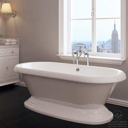 Pelham & White Luxury 60 inch Freestanding Bathtub with Vintage Tub Design in White, includes Pedestal Base and Drain, from the Mendham -