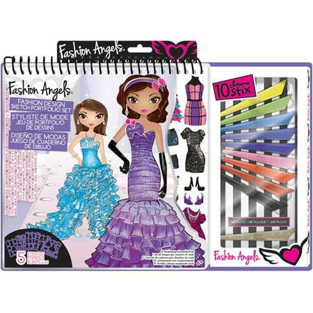 Fashion Angels Glitz & Glam Fashion Design Portfolio with Art Set