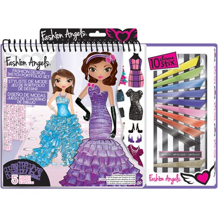 Fashion Angels Glitz & Glam Fashion Design Portfolio with Art Set