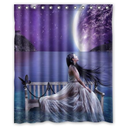 Ganma Dreamy Anime Girl Sit In Chair Purple Sky And Planet Shower Curtain Polyester Fabric Bathroom Shower Curtain 60x72 inches - Girls In Shower