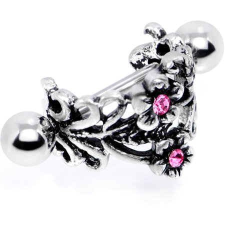Body Candy Steel Pink Accent Double Daisy Flower Cuff Cartilage Earring 16 Gauge 1/2