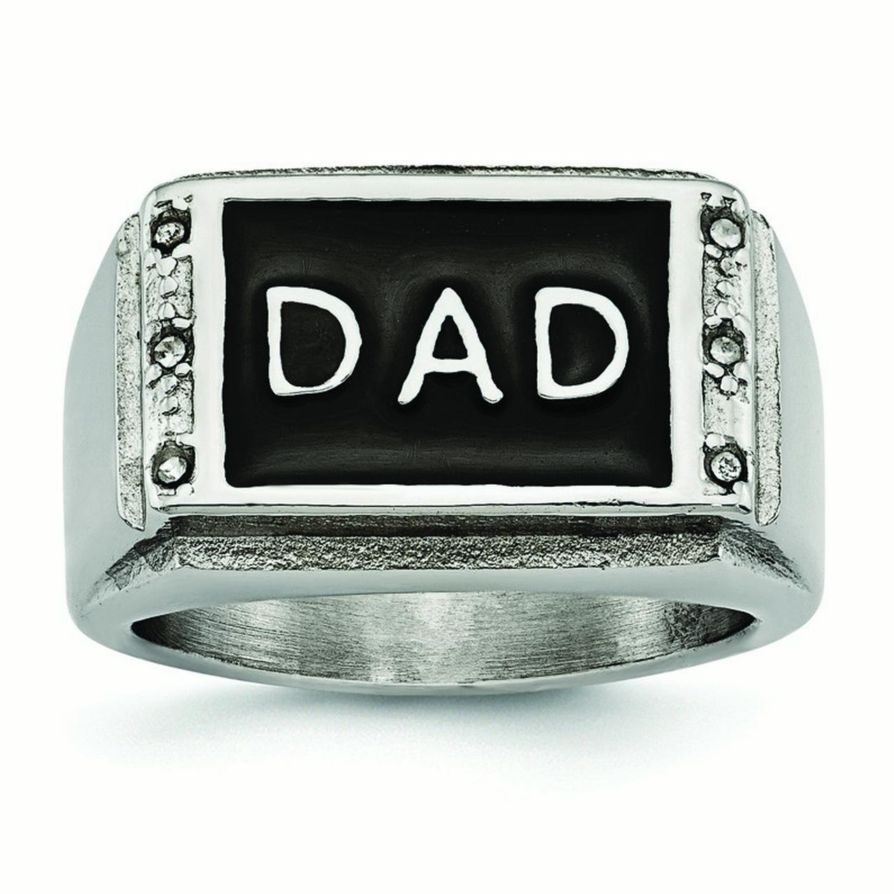 14.65mm Stainless Steel Polished Black Enameled CZ Dad Ring - Ring Size Options:  10 11 12 9