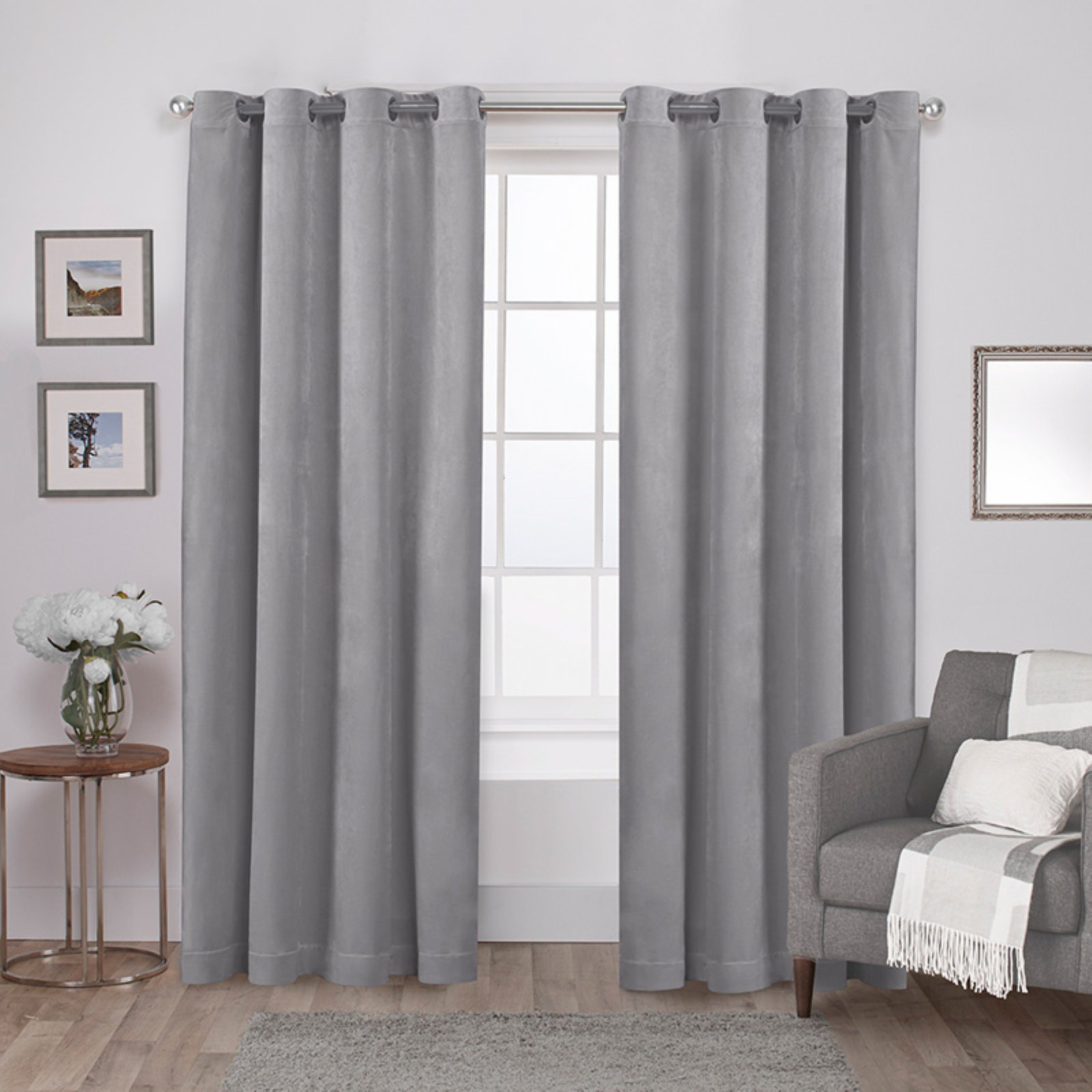 Exclusive Home Velvet Heavyweight Window Curtain Panel Pair with Grommet Top