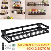 Black Single Tier Country Stainless steel Spice Rack, Cabinet, Wall, or Pantry Mount - Easily Mounted Set of 2