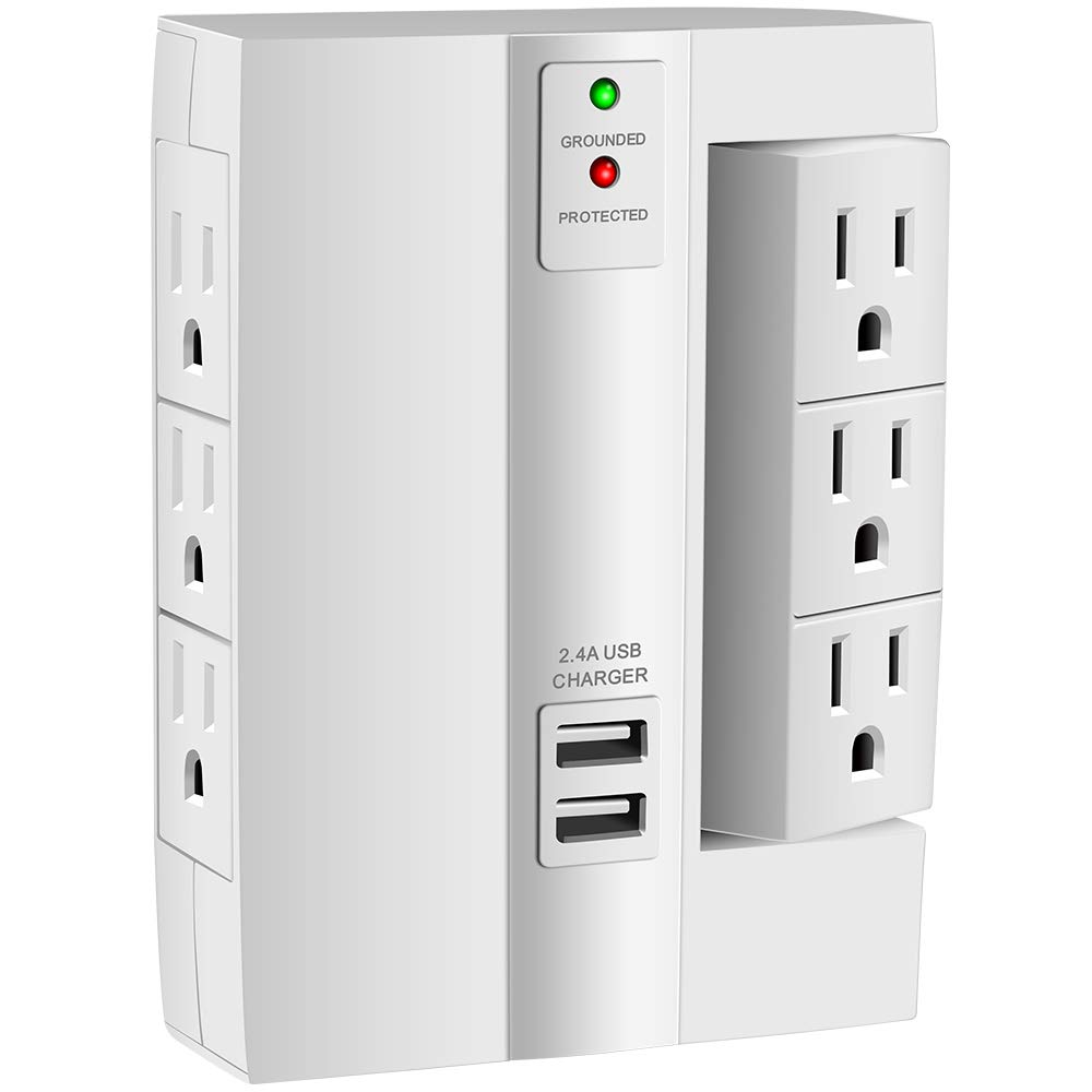 Wall Tap Surge Protector Kasonic Top Power Strip 6 Power