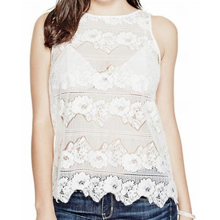 guess new white women's size large l floral lace sheer tank (Guess Jasmine Top)