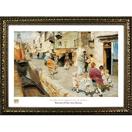 FRAMED Breezy Day In Venice by Ettore Tito 24x32 Art Print Poster Famous Painting Italy City Streets From Museum of Fine Arts Boston Collection (Italy Art Painting)