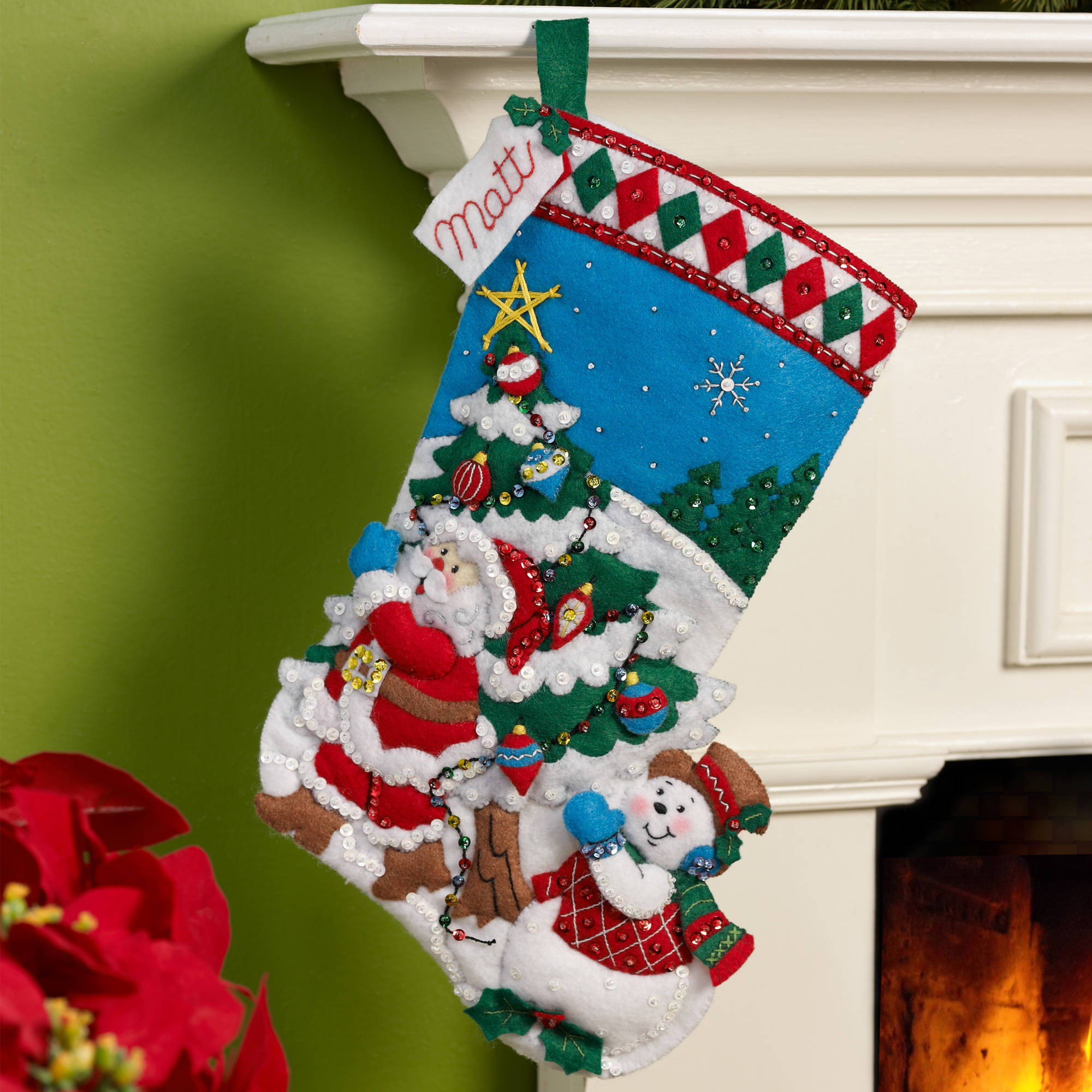 Bucilla   Felt appliqu} Stocking Kit by Plaid, Pick A Tree, 16""