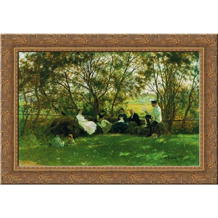 On a Turf Bench 24x19 Gold Ornate Wood Framed Canvas Art by Repin, Ilya