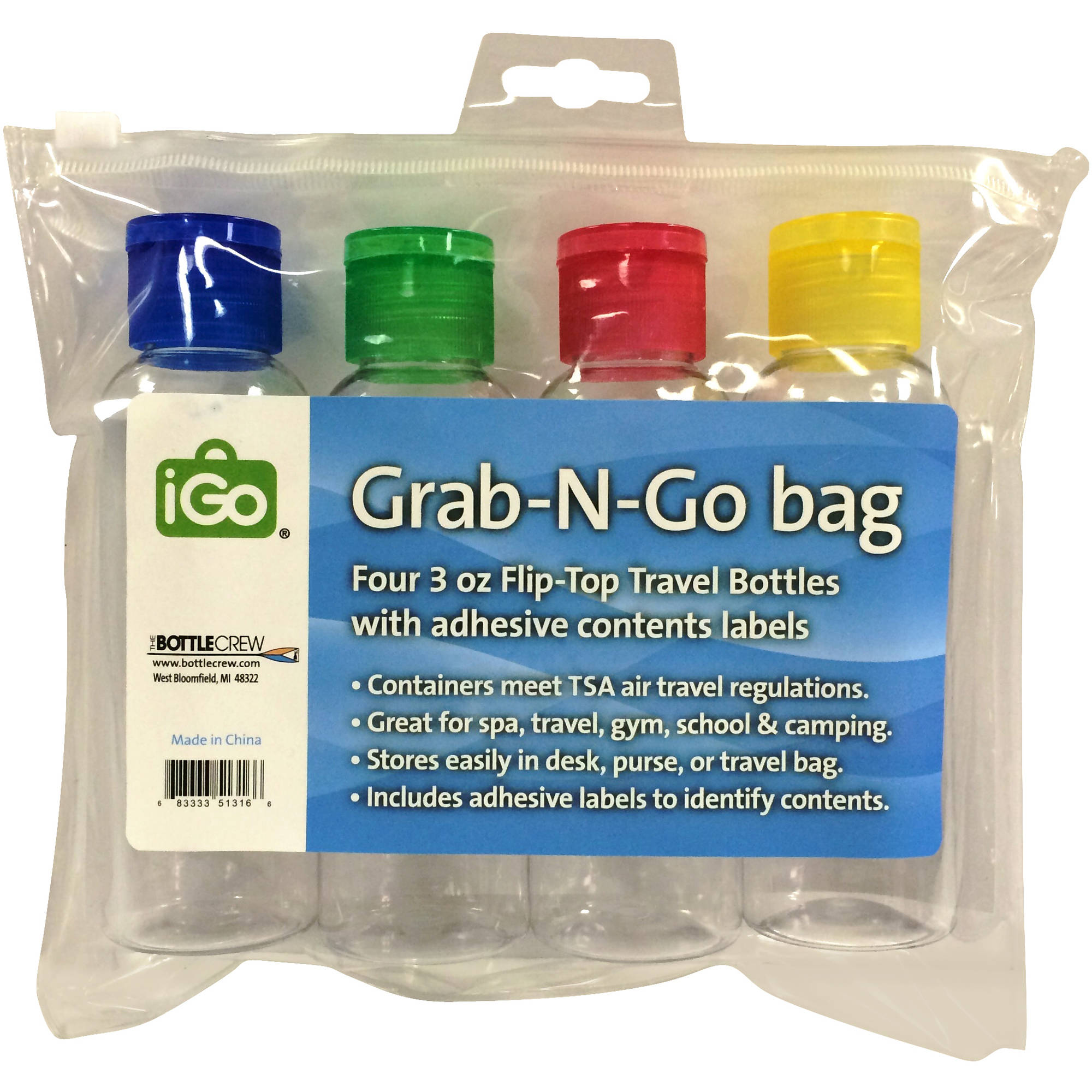 iGo Grab-N-Go Travel Bottles, 3 oz, 4 count