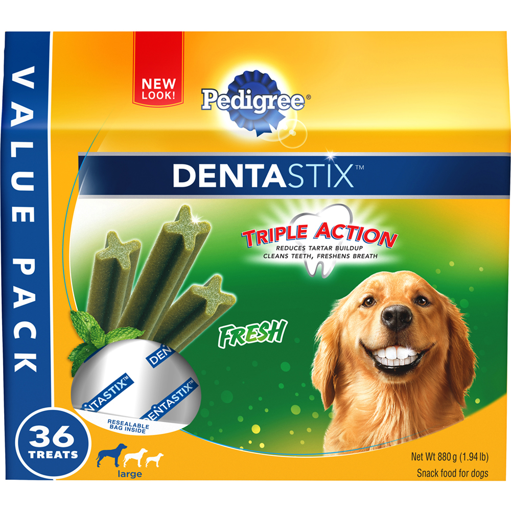 PEDIGREE DENTASTIX Fresh Large Treats for Dogs - Value Pack 1.94 Pounds 36 Treats