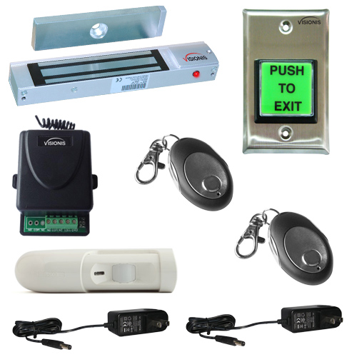 FPC-5354 One Door Access Control Outswinging Door 300lbs Electromagnetic Lock with Visionis Wireless Receiver - Remote and PIR Kit