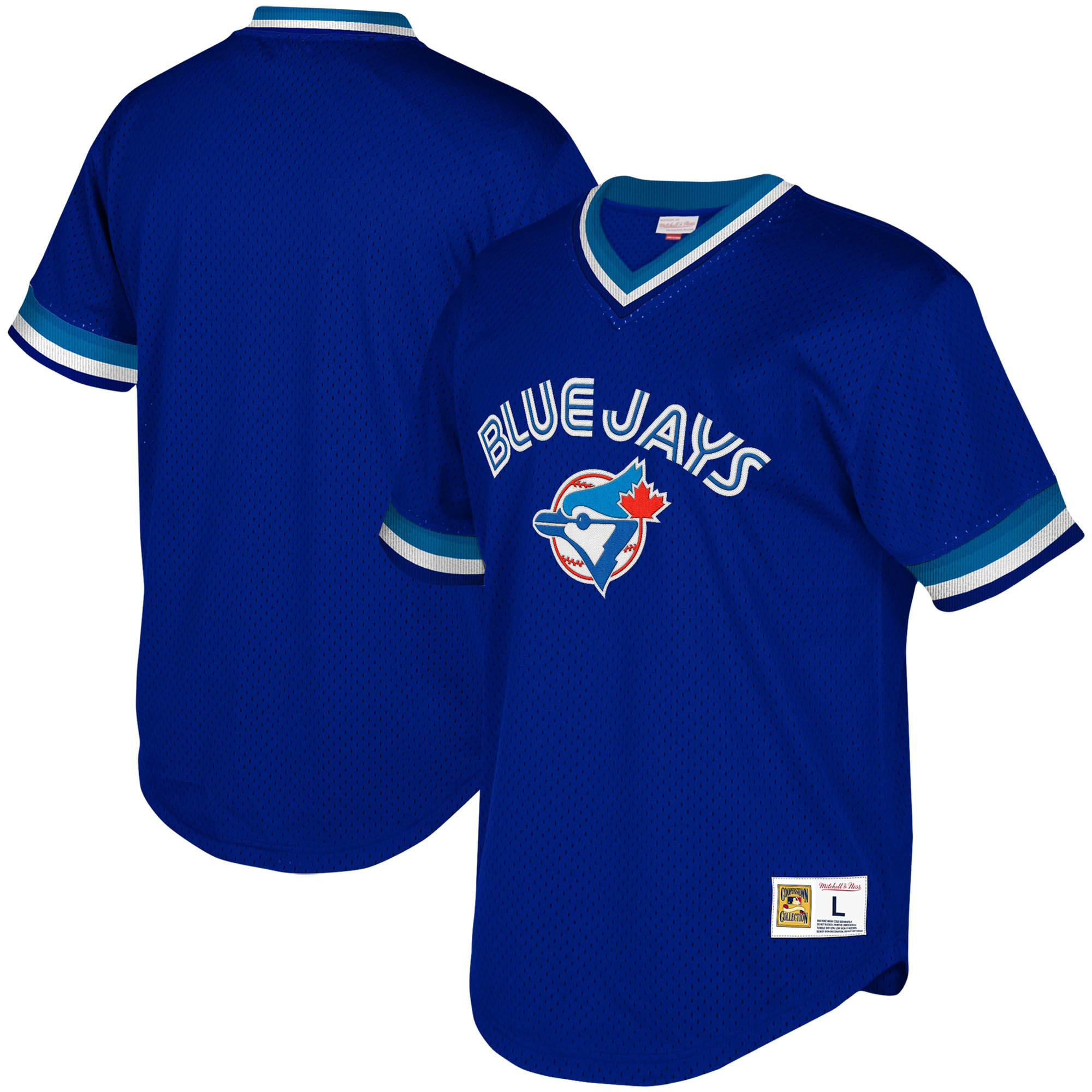 Toronto Blue Jays Mitchell & Ness Youth Cooperstown Collection Mesh Wordmark V-Neck Jersey - Royal