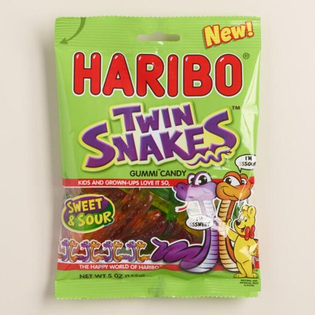Haribo Twin Snakes Gummy Candy (Pack of 1) ()