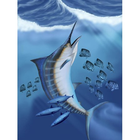Small Fish Scatter As a Huge Blue Marlin Swims To the Surface Print Wall Art By Stocktrek -