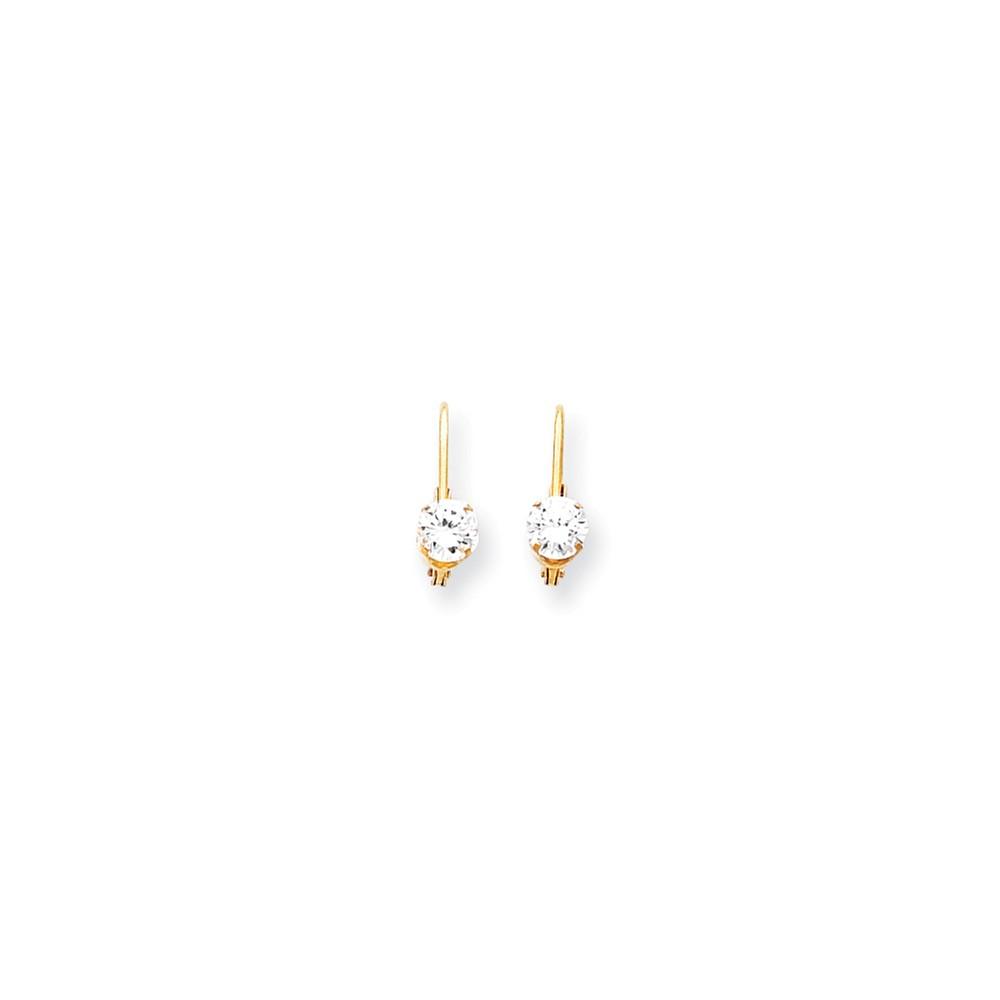 14k Yellow Gold 0.5IN Long 5mm Cubic Zirconia leverback Earrings