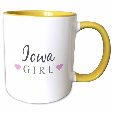 3dRose Iowa Girl - home state pride - USA - United States of America - text and cute girly pink hearts - Two Tone Yellow Mug, 11-ounce