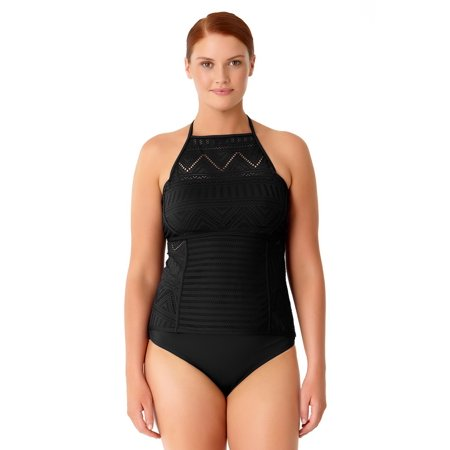417842db4e001 Anne Cole - Anne Cole Women s Plus Size Crochet All Day High Neck Tankini  Swim Top - Walmart.com