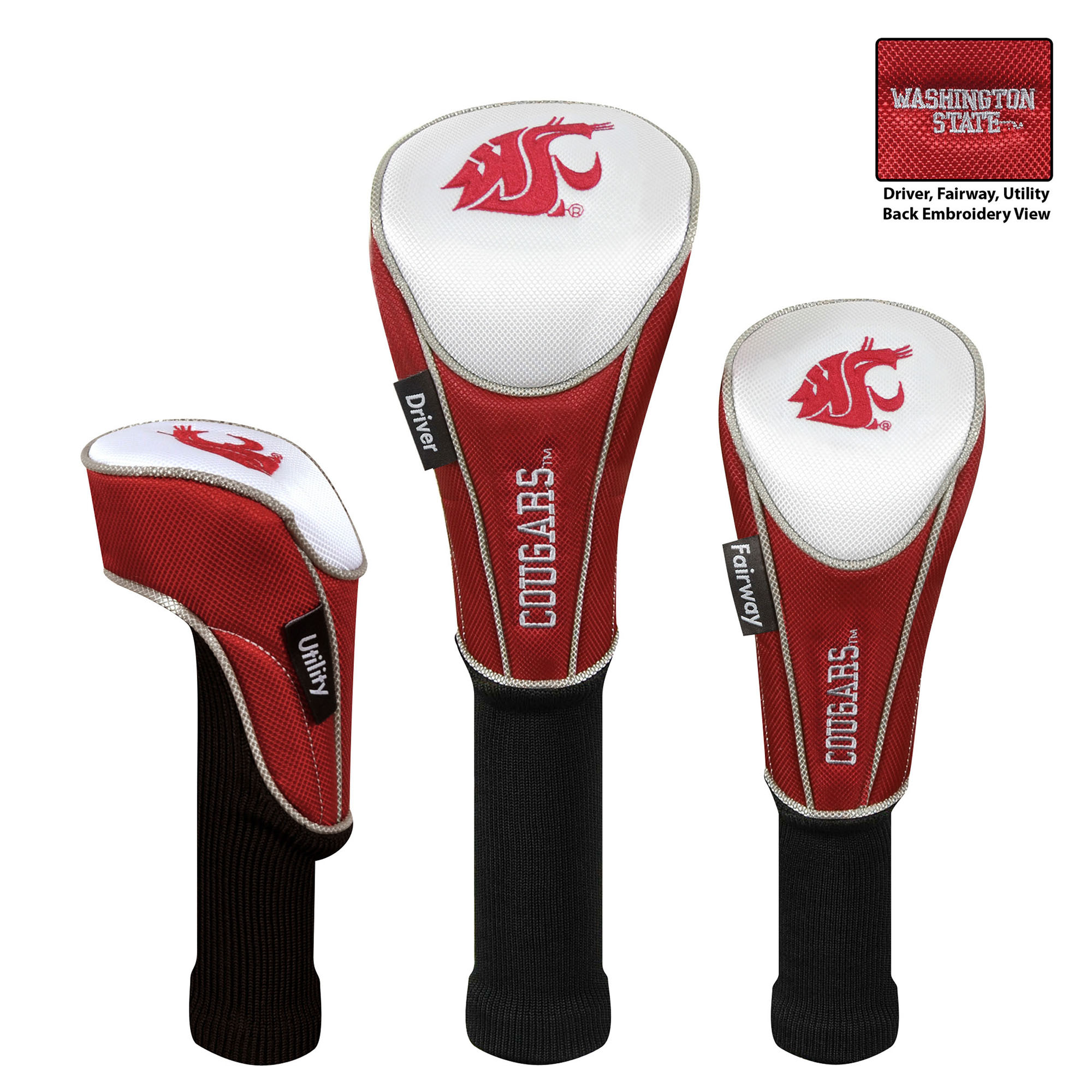 Team Effort Washington State Cougars Set of Three Golf Headcovers