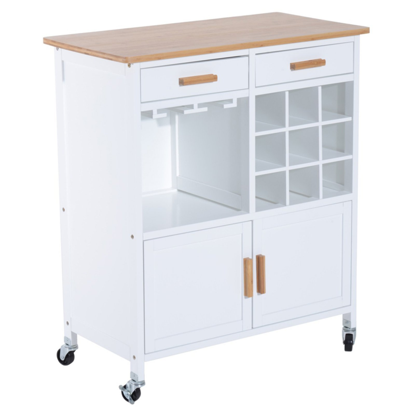 HomCom 35 in. Rolling Kitchen Trolley Serving Cart with Wine Rack ...