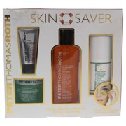 Skin Saver Kit by Peter Thomas Roth for Unisex - 4 Pc Kit 4.2oz Anti-Aging Cleansing Gel 0.5oz Firm Peeling Gel 1.7oz Cucumber Gel Mask Extreme Detoxifying Hydrator 1oz Max Sheer All Day Moisture Defense Lotion Bonus 24 Gold Pure Luxury Lift & Firm Hydra-Gel Eye Patches