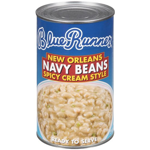 (6 Pack) Blue Runner New Orleans Spicy Cream Style Navy Beans, 27 Oz