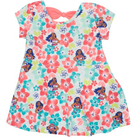 Disney Moana Toddler Girls' All-over Floral Print Dress Multicolor (4T)