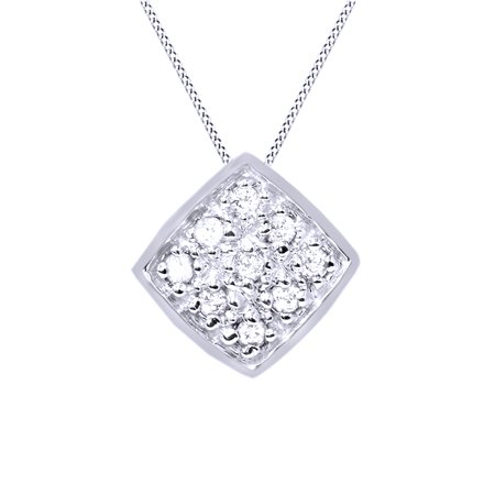 White Natural Diamond Princess Cut Solitaire Cluster Style Pendant Necklace In 14K Solid White Gold (1/5 Ct)