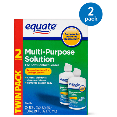 (2 Pack) Equate Sterile Multi-Purpose Contact Solution , 12 Oz, 2 Pk
