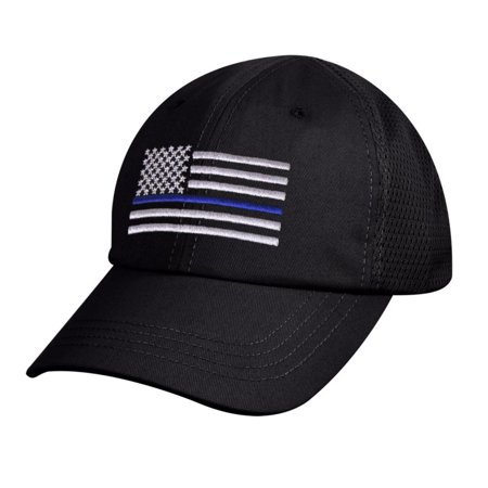 Poly Mesh Cap - Rothco Thin Blue Line Flag Tactical Mesh Back Cap Law Enforcement Support, Black