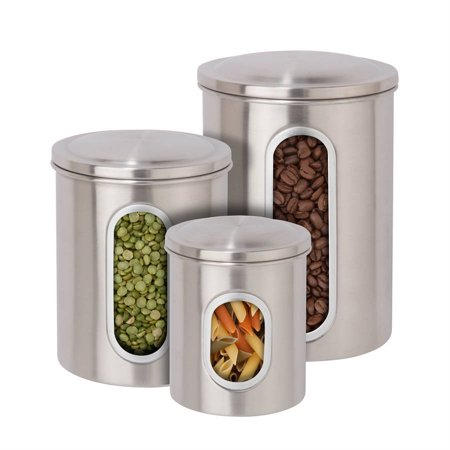 3 Stainless Steel Canisters - Honey Can Do Stainless Steel Storage Canisters (Pack of 3)