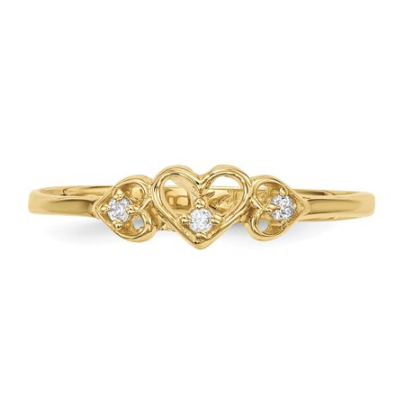 14k Yellow Gold Cubic Zirconia Cz 3 Hearts Band Ring Size 7.00 S/love Fine Jewelry For Women Valentines Day Gifts For Her - image 2 of 8