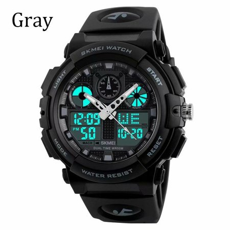 VicTsing Men Quartz Digital Watch Sports Army Alarm Watches Dual Display LED Waterproof Watches -