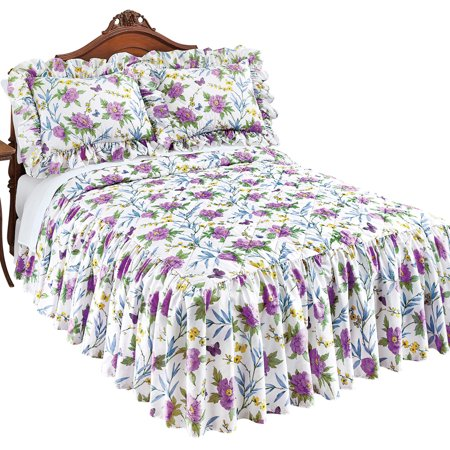 - Marlena Lavender and Yellow Floral Bedspread with Ruffled Skirt - Bedroom Decor, Twin, Lavender